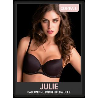 Love&bra Reggiseno Julie modello balconcino Coppa C microfibra e tulle ART.JULIE Bianco-Nero